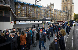 © Licensed to London News Pictures. 19/10/2019. London, UK. Members of the public queue to enter the public gallery at The Houses of Parliament in Westminster, London on the day that Parliament will vote on a new agreement between UK government and the EU over Brexit. Parliament is sitting on a Saturday for the first time since 1982. Photo credit: Ben Cawthra/LNP
