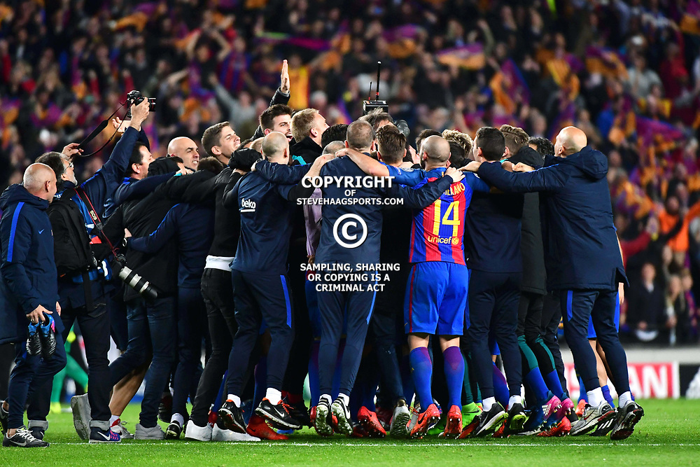 Barcelona celebrate an incredible 6-1 victory, to win 6-5 on aggregate, in the Uefa Champions League Round of 16 second leg match between FC Barcelona and Paris Saint Germain at Camp Nou on March 8, 2017 in Barcelona, Spain. (Photo by Dave Winter/Icon Sport)