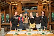 Darren Damonte, Stacey Givens, Elaine Walker and Kara Gilber of Vibrant Valley Farm, Lola Millholand of Umi Organic Noodles, Corey Schuster of Jackalope Winery, preparing for dinner in Kobe, Japan.