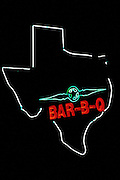 Image of a neon Bar B-Q sign in Houston, Texas, American South