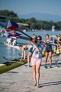 Plovdiv BULGARIA. 2017 FISA. Rowing World U23 Championships. <br /> USA BW8+. coach, Megan COOK CARCAGNO.<br /> Friday Boat Area. Boat Racks Pontoons.<br /> <br /> 08:23:23  Friday  21.07.17   <br /> <br /> [Mandatory Credit. Peter SPURRIER/Intersport Images].