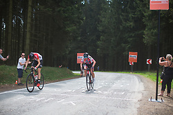 The remnants of the break reach the top of the first, categorised climb of Liege-Bastogne-Liege - a 136 km road race, between Bastogne and Ans on April 22, 2018, in Wallonia, Belgium. (Photo by Balint Hamvas/Velofocus.com)