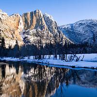 Yosemite Falls winter photographed from swinging bridge.