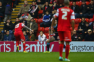 Chris Dagnall of Leyton Orient (left) scores his team's second goal against Crewe Alexandra after the Sky Bet League 1 match at the Matchroom Stadium, London<br /> Picture by David Horn/Focus Images Ltd +44 7545 970036<br /> 22/11/2014