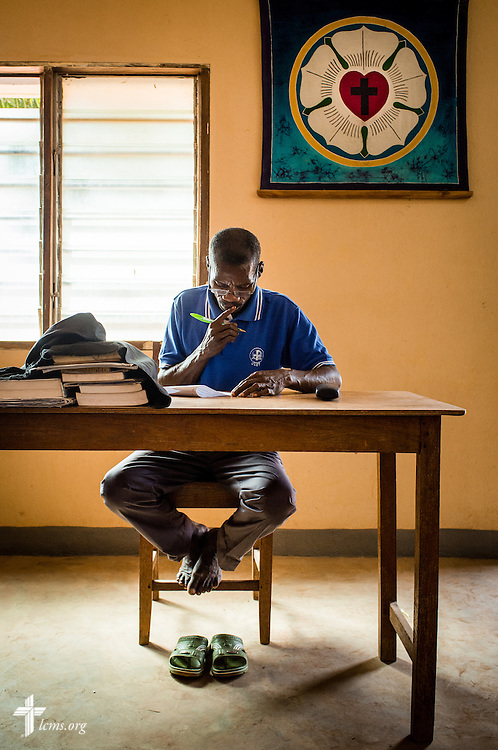 A student takes an exam during class at the Lutheran Center for Theological Studies (CLET) on Wednesday, Feb. 15, 2017, in Dapaong, Togo. LCMS Communications/Erik M. Lunsford
