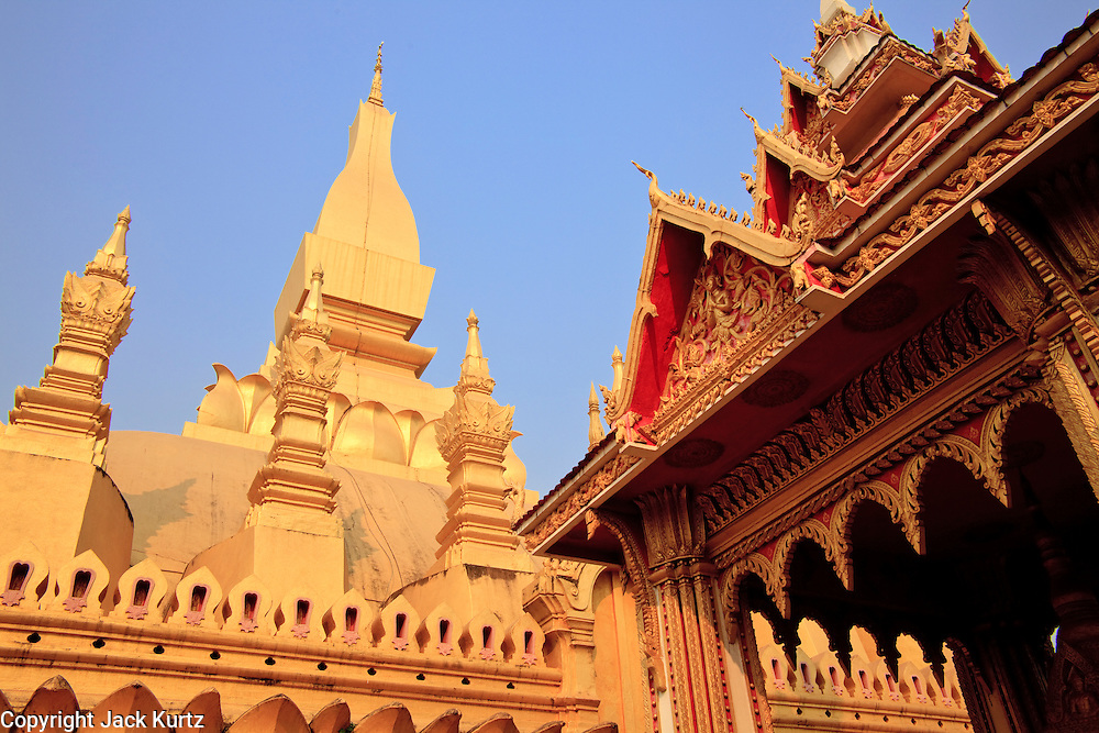 Mar. 11, 2009 -- VIENTIANE, LAOS:  Pha That Luang in Vientiane, Laos, is the most important national monument in Laos. Construction was started by King Setthathirat in 1566. The complex was sacked and destroyed by the Siamese (Thais) in 1828 and restored by the French starting in 1900.  Photo by Jack Kurtz / ZUMA Press