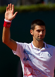 20.04.2012, Country Club, Monte Carlo, MON, ATP World Tour, Rolex Masters, Viertelfinale, im Bild Novak Djokovic (SRB) in action during the quarter final singles match between Novak Djokovic (SRB) and Robin Haase (NED) // during Rolex Masters tennis tournament quarter Final of ATP World Tour at Country Club, Monte Carlo, Monaco on 2012/04/20. EXPA Pictures © 2012, PhotoCredit: EXPA/ Mitchell Gunn