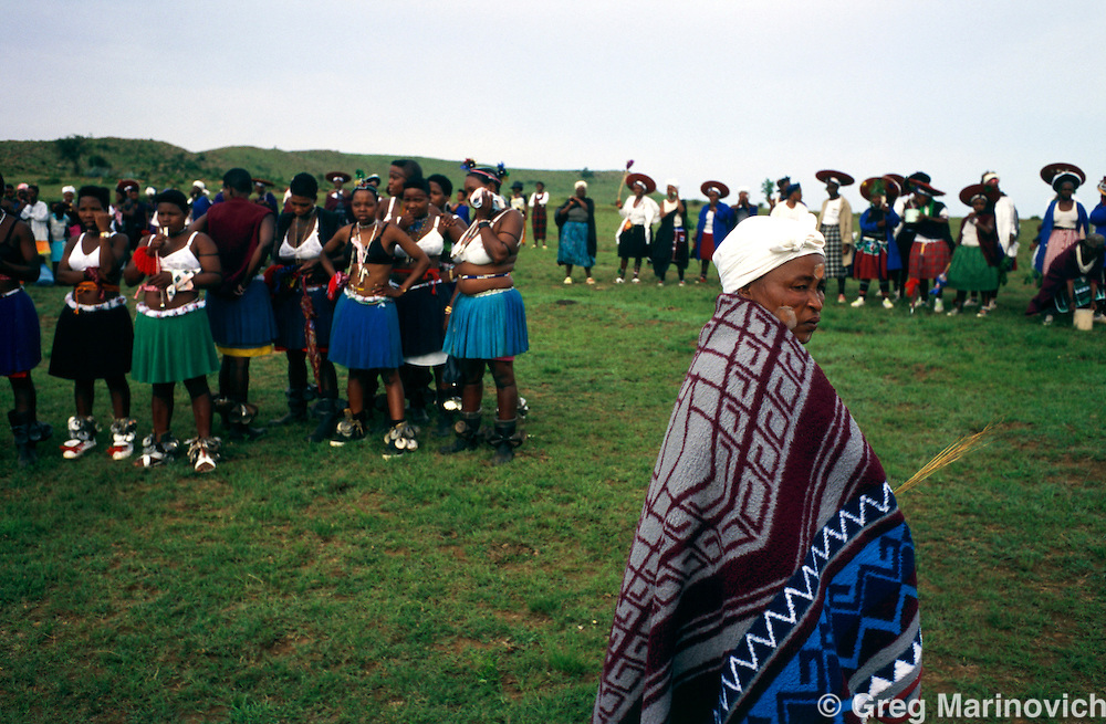 Young Zulu girls prepare for a coming of age ceremony at Msinga, KwaZulu Natal, South Africa. 1997.
