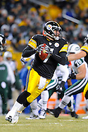 PITTSBURGH, PA - JANUARY 23: Ben Roethlisberger #7 of the Pittsburgh Steelers rolls out to pass against the New York Jets in the AFC Championship Playoff Game at Heinz Field on January 23, 2011 in Pittsburgh, Pennsylvania. The Steelers defeated the Jets 24 to 19. (Photo by: Rob Tringali) *** Local Caption *** Ben Roethlisberger