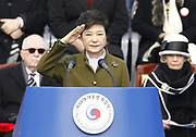 South Korea's new President Park Geun-hye inspects a honour guard during her inauguration at parliament in Seoul February 25, 2013. Park Geun-hye became the first female president of South Korea, who is the daughter of a former military dictator Park Chung-hee who took power in a military coup in 1961 and ruled the country for 18 years. Photo by Lee Jae-Won (SOUTH KOREA) www.leejaewonpix.com