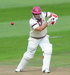 Somerset's Jim Allenby drives the ball - Photo mandatory by-line: Harry Trump/JMP - Mobile: 07966 386802 - 21/08/15 - SPORT - CRICKET - LV County Championship Division One - Day One - Somerset v Worcestershire - The County Ground, Taunton, England.