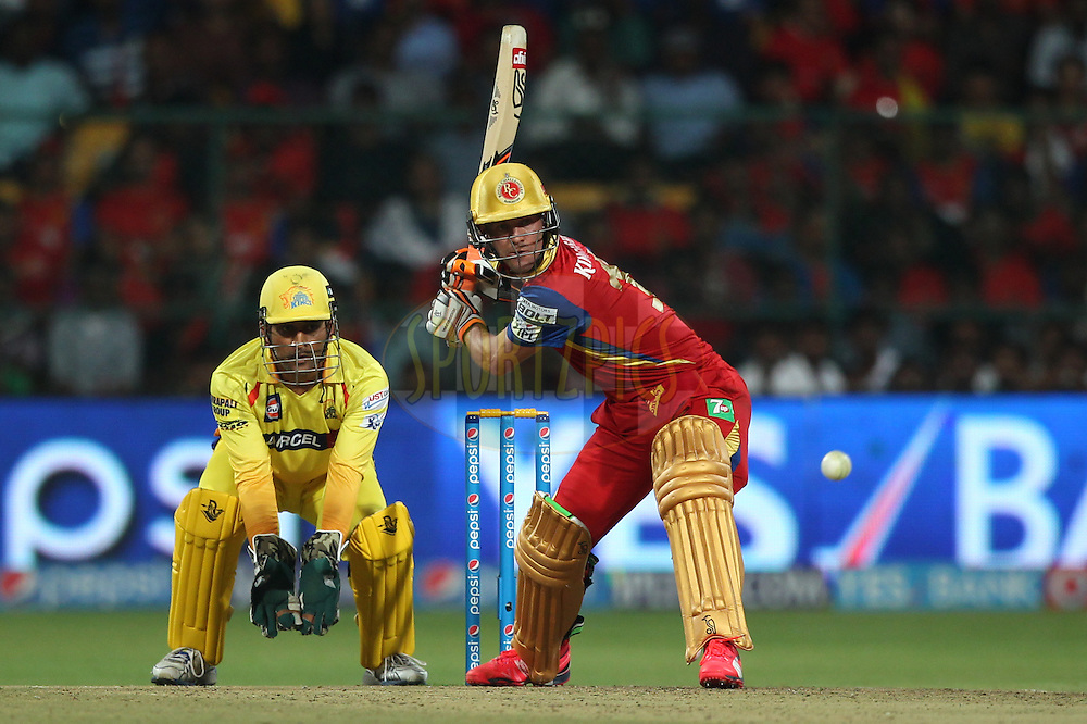 AB de Villiers of the Royal Challengers Bangalore bats during match 20 of the Pepsi IPL 2015 (Indian Premier League) between The Royal Challengers Bangalore and The Chennai Superkings held at the M. Chinnaswamy Stadium in Bengaluru, India on the 22nd April 2015.<br /> <br /> Photo by:  Deepak Malik / SPORTZPICS / IPL