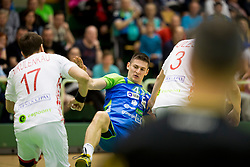 Aleks Kavcic of Slovenia during friendly handball match between National teams of Slovenia and Belarus, on April 8, 2018 in Sports hall Tri Lilije, Lasko, Slovenia. Photo by Urban Urbanc / Sportida