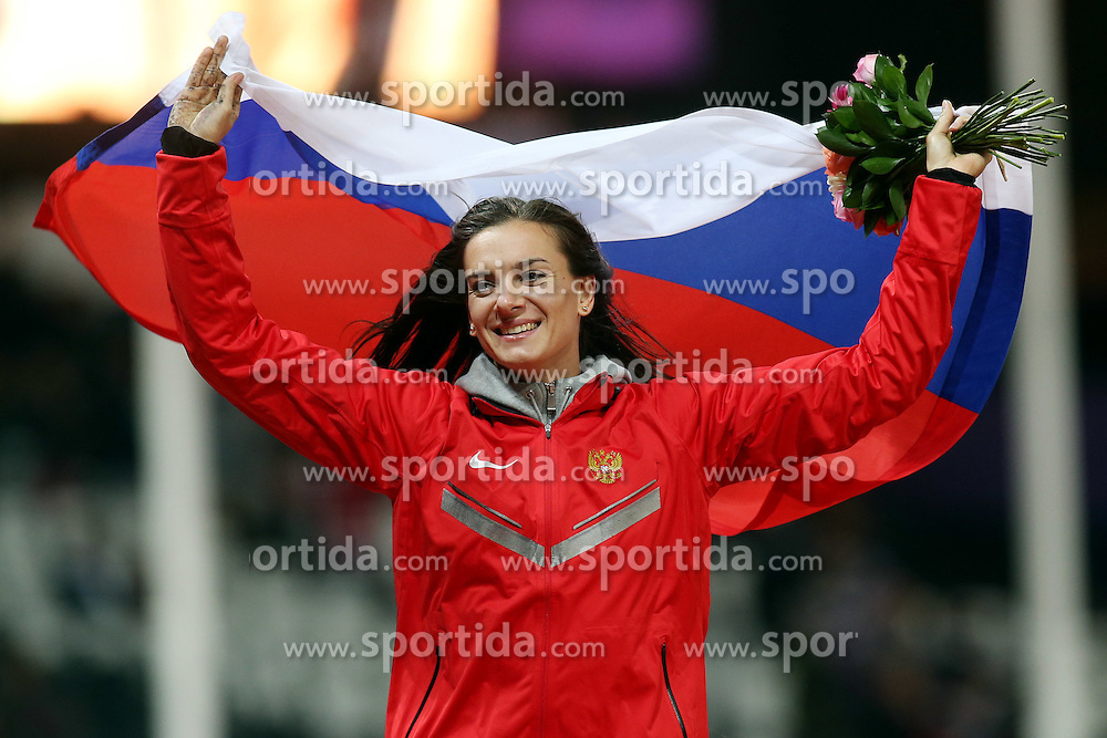 OLYMPICS LONDON, Aug. 6, 2012 .bronze medalist Elena Isinbaeva of Russia celebrate after women's pole vault final contest, at London 2012 Olympic Games in London, Britain, on August 6, 2012 © pixathlon
