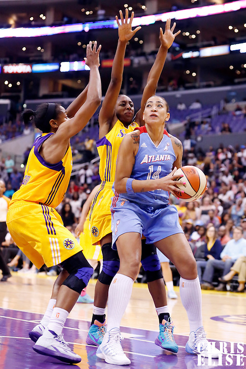 08 August 2014: Los Angeles Sparks forward Nneka Ogwumike (30) defends on Atlanta Dream center Erika de Souza (14) during the Los Angeles Sparks 80-77 overtime win over the Atlanta Dream, at the Staples Center, Los Angeles, California, USA.