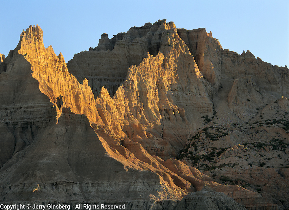 Cedar Pass in the rugged eroded badlands of Badlands National Park, SD.