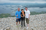 22/06/2014 Ray Jordan, Rosemary Ryan and Neil McNelis who climbed the  765 metre Croagh Patrick in Mayo as part of the 30th Anniversary Celebrations of  Self Help Africa and to support the work of Self Help Africa in 10 countries in Africa. Photo: Andrew Downes