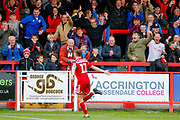 Accrington Stanley midfielder Sean McConville (11) scores and celebrates  Accrington Stanley's 2nd goal to make the score 2-0 during the EFL Sky Bet League 1 match between Accrington Stanley and AFC Wimbledon at the Fraser Eagle Stadium, Accrington, England on 22 September 2018.