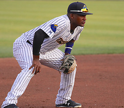 May 19, 2017 - Trenton, New Jersey, U.S - MIGUEL ANDUJAR of the Trenton Thunder mans ''the hot corner'' in the game vs. the Portland Sea Dogs at ARM & HAMMER Park. (Credit Image: © Staton Rabin via ZUMA Wire)