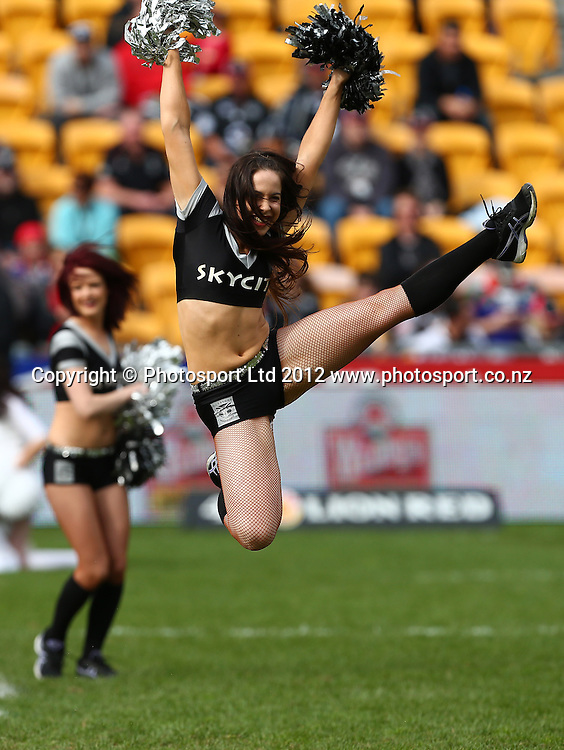 Skycity Cheerleaders during the NRL game, Vodafone Warriors v Penrith Panthers, Mt Smart Stadium, Auckland, Sunday 19 August  2012. Photo: Simon Watts /photosport.co.nz