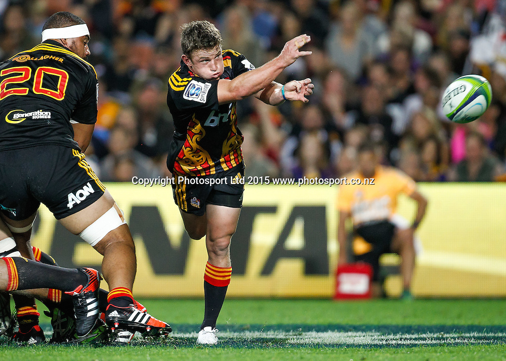 Chief's Brad Weber passes during the Super 15 Rugby Match - Chiefs v Highlanders, 6 March 2015 at Waikato Stadium, Hamilton, New Zealand on Friday 6 March 2015.  Photo:  Bruce Lim / www.photosport.co.nz