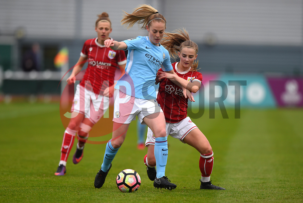Poppy Wilson of Bristol City Women battles with Kiera Walsh of Manchester City Women - Mandatory by-line: Paul Knight/JMP - 03/05/2018 - FOOTBALL - Stoke Gifford Stadium - Bristol, England - Bristol City Women v Manchester City Women - FA Women's Super League 1