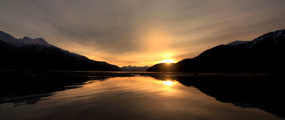 Morning light over Gastineau Channel in Juneau, AK