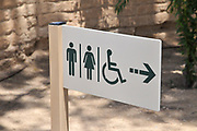 Public toilet sign men, women and handicapped rest rooms