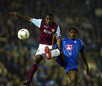 BCFC-Aston Villa<br /> Fotball, 16. september 2002. FA Barclaycard premiership,  Birmingham - Aston Villa 3-0. Darius Vassell, Aston Villa, og Aliou Cisse, Birmingham.