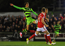 Christian Doidge of Forest Green Rovers competes with Oliver Lancashire of Swindon Town - Mandatory by-line: Nizaam Jones/JMP - 22/09/2017- FOOTBALL - New Lawn Stadium - Nailsworth, England - Forest Green Rovers v Swindon Town - Sky Bet League Two