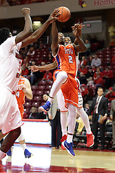 21 November 2015: Anthony Odunsi(2) cruises through traffic for a lay up. Illinois State Redbirds host the Houston Baptist Huskies at Redbird Arena in Normal Illinois (Photo by Alan Look)