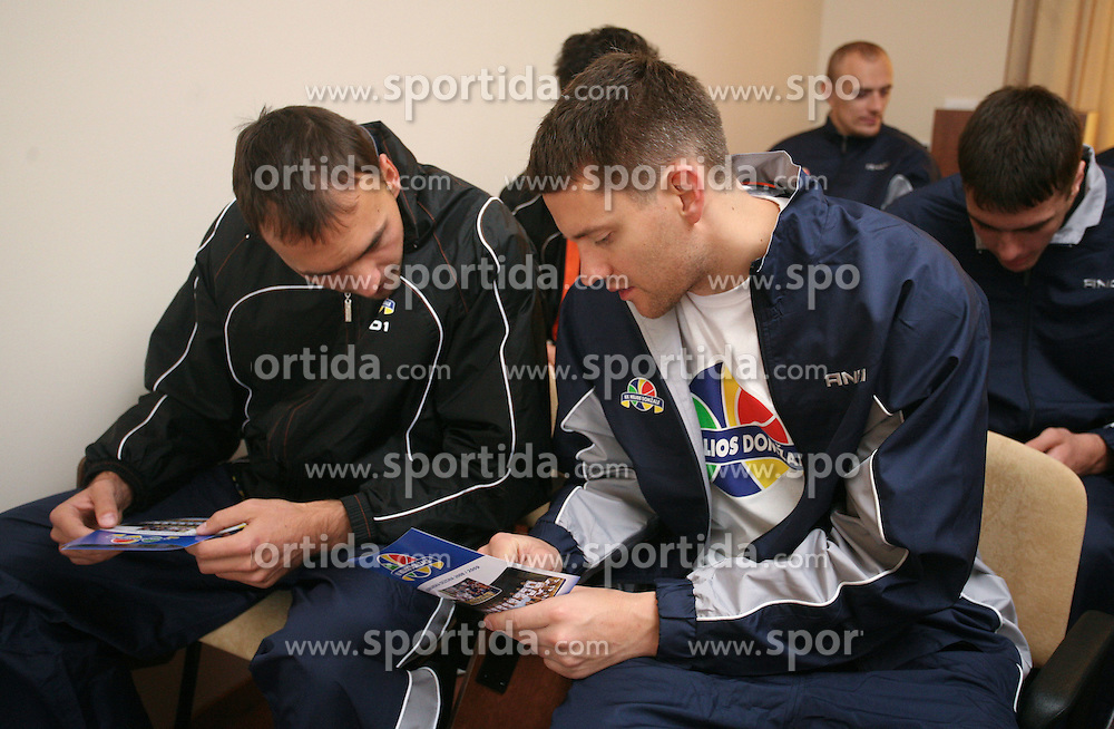 Players at press conference of KK Helios Domzale before new season 2008/2009 in NLB league and Slovenian National Championship,  on September 18, 2008 in Hotel Ambient, Domzale, Slovenia. (Photo by Vid Ponikvar / Sportal Images)