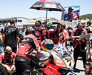 Jun 23  2018  Monterey, CA, U.S.A  # 7 Chaz Davies on the grid during the Motul FIM World Superbike Race # 1 at Weathertech Raceway Laguna Seca  Monterey, CA  Thurman James / CSM