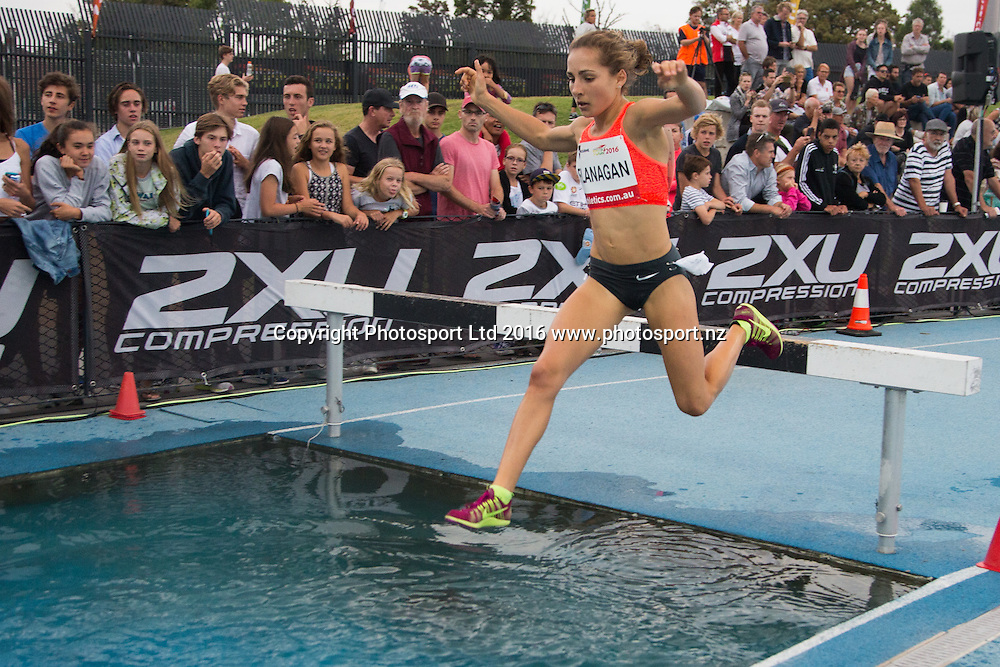 Rosa Flanagan competing in the Women 3000 Meter Steeplechase jump into the water during the IAAF world Challenge Athletics event at Lakeside Stadium. Saturday 5th March 2016. Copyright Photo. Brendon Ratnayake / www.photosport.nz