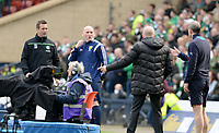 17/04/16 WILLIAM HILL SCOTTISH CUP SEMI-FINAL<br /> RANGERS v CELTIC<br /> HAMPDEN - GLASGOW<br /> Celtic manager Ronny Deila (far left) and Rangers manager Mark Warburton