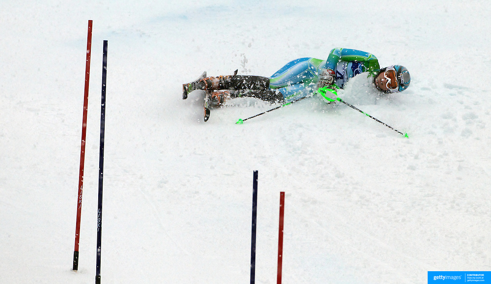 Winter Olympics, Vancouver, 2010.Ana Drev, Slovenia,  crashing on run one during the Alpine Skiing Ladies Slalom at Whistler Creekside, Whistler, during the Vancouver Winter Olympics. 24th February 2010. Photo Tim Clayton