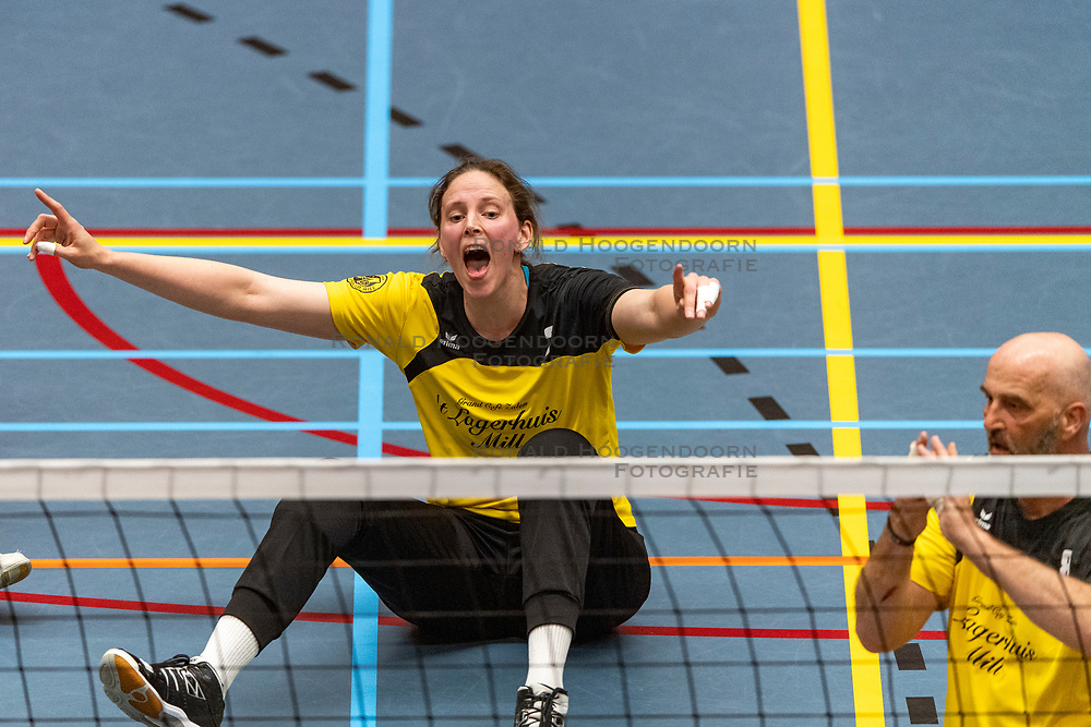 20-04-2019 NED: Dirk Kuyt Foundation Cup, Veenendaal<br /> National Cup sitting volleyball in Veenendaal / vv Apollo Mill vs. BVC Holyoke, Chaine Verhees-Staelens #3