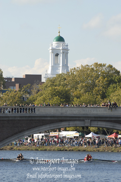 Boston, USA, Master Men's Fours,  Crews approaching the John Weeks Bridge during the Head of the Charles, Race Charles River,  Cambridge,  Massachusetts. Saturday  20/10/2007 [Mandatory Credit Peter Spurrier/Intersport Images]..... , Rowing Course; Charles River. Boston. USA