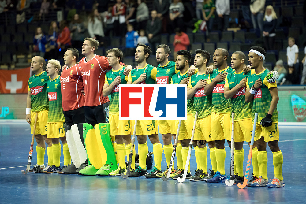 BERLIN - Indoor Hockey World Cup<br /> Men: Russia - South Africa<br /> foto: line up RSA.<br /> COPYRIGHT WILLEM VERNES