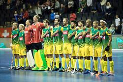 BERLIN - Indoor Hockey World Cup<br /> Men: Russia - South Africa<br /> foto: line up RSA.<br /> COPYRIGHT WILLEM VERNES