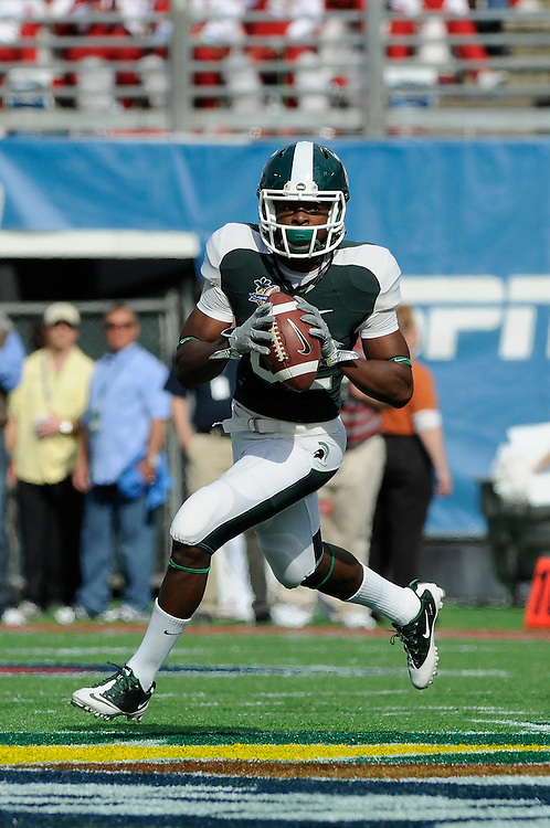 January 1, 2011: Keshawn Martin of the Michigan State Spartans in action during the NCAA football game between MSU and the Alabama Crimson Tide at the 2011 Capital One Bowl in Orlando, Florida. Alabama defeated Michigan State 49-7.