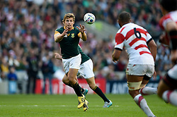 Patrick Lambie of South Africa receives the ball - Mandatory byline: Patrick Khachfe/JMP - 07966 386802 - 19/09/2015 - RUGBY UNION - Brighton Community Stadium - Brighton, England - South Africa v Japan - Rugby World Cup 2015 Pool B.