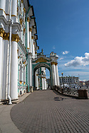St. Petersburg, Russia -- July 21, 2019. Wide-angle side view of an entrance to the Winter Castle in St Petersburg, Russia.