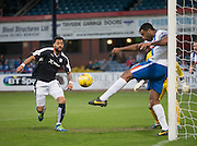 Kilmarnock&rsquo;s Miles Addison clears off the line as Dundee&rsquo;s Kane Hemmings lurks with intent  - Dundee v Kilmarnock, Ladbrokes Scottish Premiership at Dens Park<br />