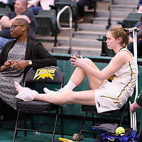 4th year forward Christina McCusker (12) of the Regina Cougars during the Women's Basketball home game on January  19 at Centre for Kinesiology, Health and Sport. Credit: Arthur Ward/Arthur Images