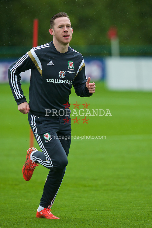 CARDIFF, WALES - Monday, June 1, 2015: Wales' Gethin Jones during a training session at the Vale of Glamorgan ahead of the UEFA Euro 2016 Qualifying Round Group B match against Belgium. (Pic by David Rawcliffe/Propaganda)