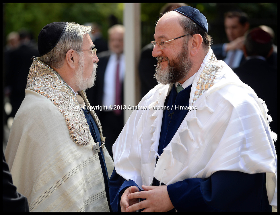The New Chief UK Rabbi Ephraim Mirvis (right) at his Installation at St John's Wood Synagogue, and the Out going Chief Rabbi Lord Jonathan Sacks (left), who has held the post since 1991, London, United Kingdom. Sunday, 1st September 2013. Picture by Andrew Parsons / i-Images