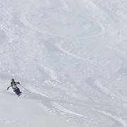 Pat Campbell and Jamie Macintosh skiing their powder 8 run.