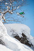 Jump 3 of 5 on this day in the Hakuba, Japan backcountry. Matt Belzile is a machine.