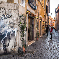 Rome graffiti in Trastevere neighbourhood